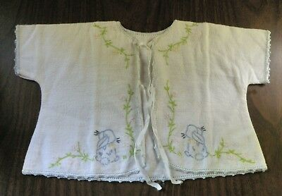 Vintage Infant Kimono Handmade Embroidered ~ for Baby Doll Display Rabbit Flower