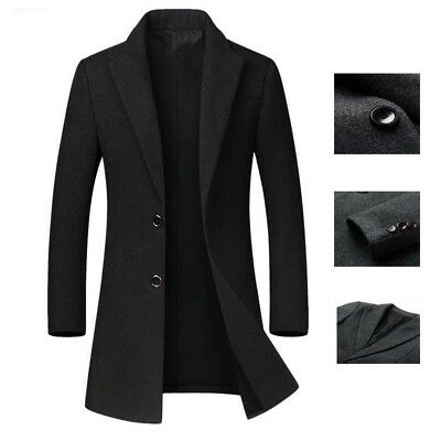 Men's Wool Coat Winter Trench Coat Warm Outwear Long Jacket Overcoat Slim Tops