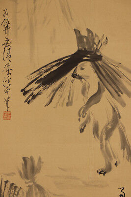 """JAPANESE HANGING SCROLL ART Painting """"Raccoon dog"""" Asian antique  #E5295"""