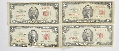 Lot (4) Red Seal $2.00 US 1953 or 1963 Notes - Currency Collection *465