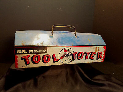Vintage Antique Pressed Steel / Tin Tool Toter Tool Box Toy