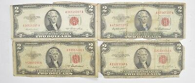 Lot (4) Red Seal $2.00 US 1953 or 1963 Notes - Currency Collection *464
