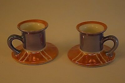 Noritake Tan/Blue Lusterware Chambersticks, Candle Holders, Art Deco Period