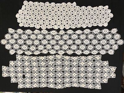 Lot of 3 Antique VTG Handmade Crocheted Oblong Large Doilies Cotton Doily Table