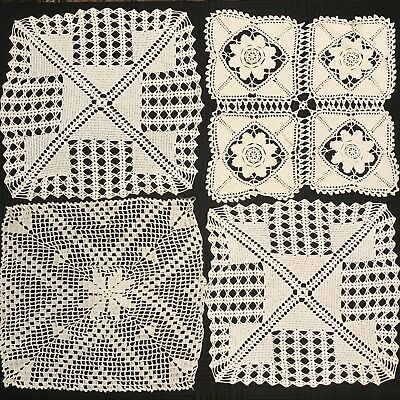 "Lot of 4 Antique VTG Handmade Crocheted 18"" Square Large Doilies Cotton Doily"