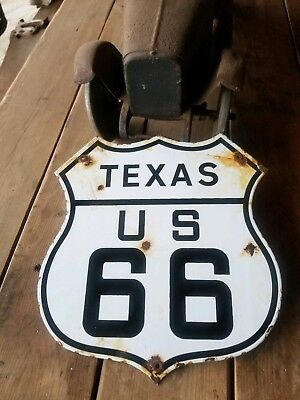 """Texas"" Route 66 vintage Steel porcelain road sign"