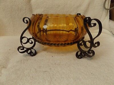 """VINTAGE GLASSWARE--AMBER CANDY DISH w/ METAL CARRIER--14"""" WIDE--VERY NICE"""