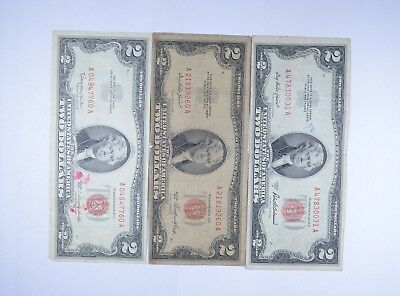 Lot (3) Red Seal $2.00 US 1953 or 1963 Notes - Currency Collection *083
