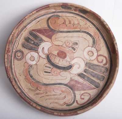 Ancient Large Mayan Polychrome Pottery Tripod Plate Late Classic Period Ca. 600