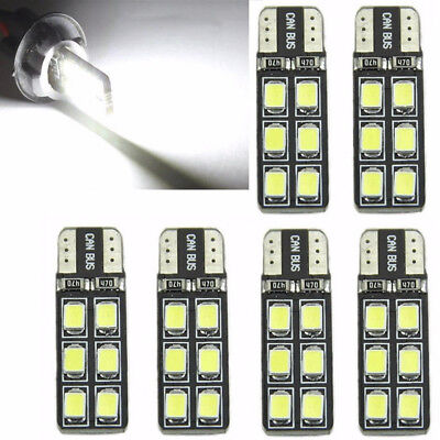 6Pcs T10 12-SMD LED Canbus Error Free Silica Light Bulb 6000K W5W 194 168 2835