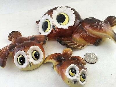 Set of three, vintage, fabulous, wide eyed Owl wall hangers. Mom and kids.