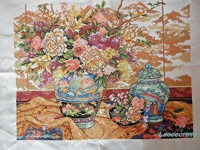 """NEW Completed finished cross stitch needlepoint""""Classical vase""""home decor gift"""