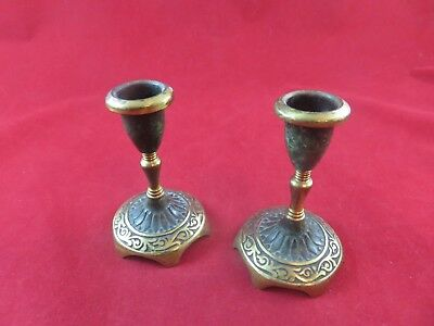 "Vintage Israel Candle Holders (2) Brass / Ceramic 4"" Tall N.744A"