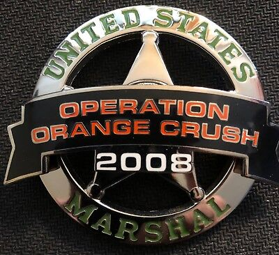 USMS - US Marshals Service silver 2008 Operation Orange Crush badge topper