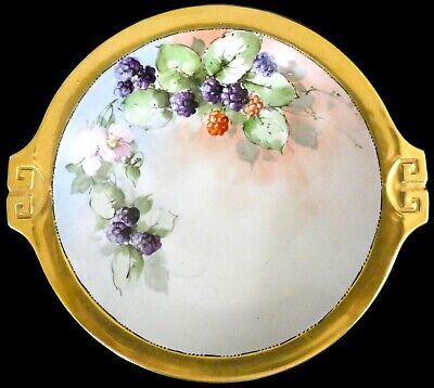 Antique Hand Decorated China c. 1900 Footed Compote Gold MZ Austria Blackberries