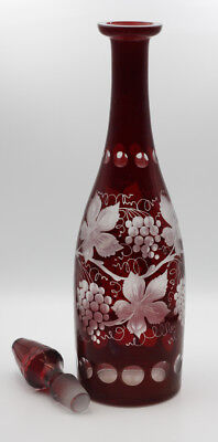 Antique Bohemian Cranberry Cut to clear Glass Decanter