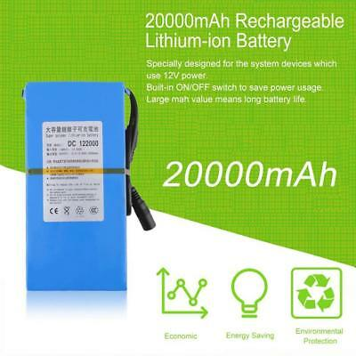 Portable DC 12V 20000mAh Rechargeable Lithium Ion Battery Charger Adapter Blue