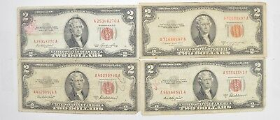 Lot (4) Red Seal $2.00 US 1953 or 1963 Notes - Currency Collection *463