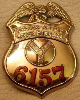 """Early Chicago Special Patrolman Copper Numbered """"Y"""" Eagle  Hanson Police Badge!"""