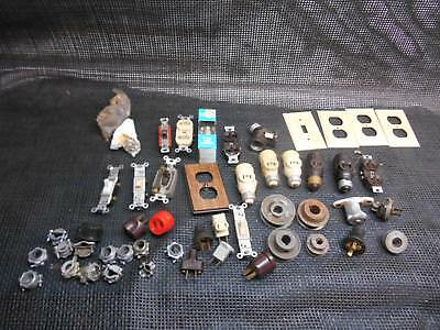 Old Vtg ELECTRICAL JUNK DRAWER Junque Architectual Salvage Plugs Switches & More
