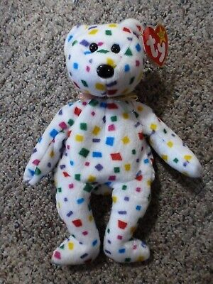 """TY Beanie Baby """"TY 2K"""" Confetti bear. New with tags attached"""