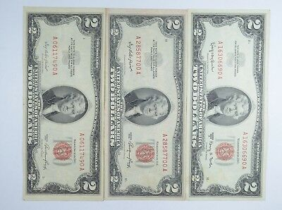Lot (3) Red Seal $2.00 US 1953 or 1963 Notes - Currency Collection *092