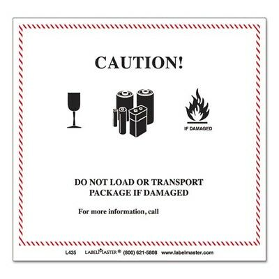 """Caution Damage Package Shipping Label Self-Adhesive 4.75 x 4.37"""" - Roll of 500"""