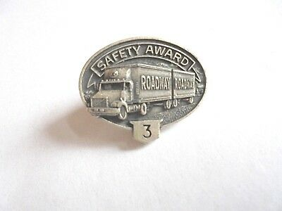 Vintage Roadway Trucking Truck Driver 3 Year Safety Award Pin