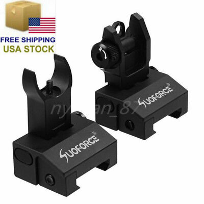 US Hunting Front Rear Micro Flip Up Low Profile Iron Sight Set Rapid Transition