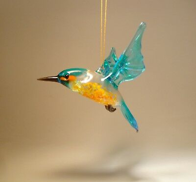 "Blown Glass ""Murano"" Blue and Red Hanging KINGFISHER Bird Figurine Ornament"