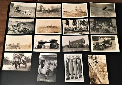 Lot Of 16 Vintage Rppc Postcards Real Photo Animals People Military Ft Lewis+++