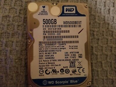 Western Digital WD5000BEVT Scorpio Blue 500GB Drive USED