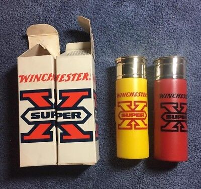 Avon Decanter Good Shot Aftershave Winchester Bullets Pair Yellow & Red Super X