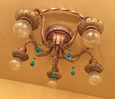 Vintage Antique Lighting 1920s ceiling hugger blue glass