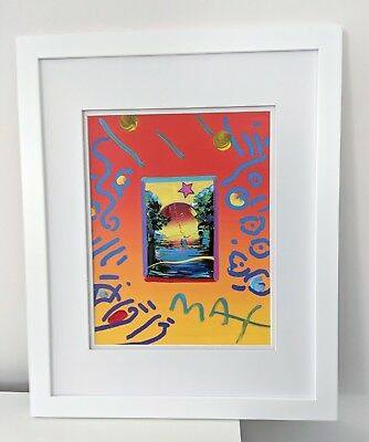 Framed Original Mixed Media Painting on Paper Better World Collage By Peter Max