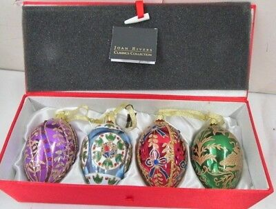 Joan Rivers Set of 4 Faberge Inspired  Egg Ornaments 2008 In Original Red Box!