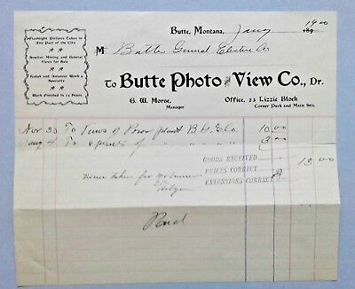Billhead, Butte Photo and View Co, Butte Montana, 1900