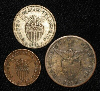 3 Coins from the Philippine Islands.  1903-1929.   No Reserve!!