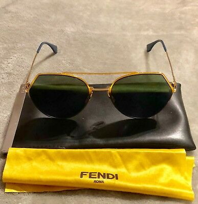 0b4fa750cb FENDI EYELINE FF 0194 S-000-2A Aviator Sunglasses Rose Gold Blue ...