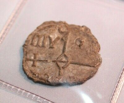 Byzantine Lead Bulla Seal 10th Century A.D. VF Reads (God-Bearer [the Virgin]...