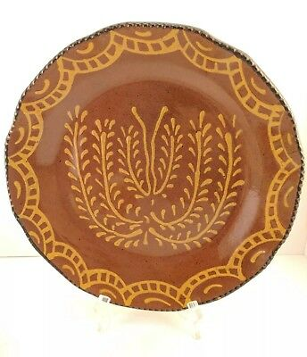 Ginger Cazan Redware Folk Art Plate Cabin Craft Pottery 2005 Signed
