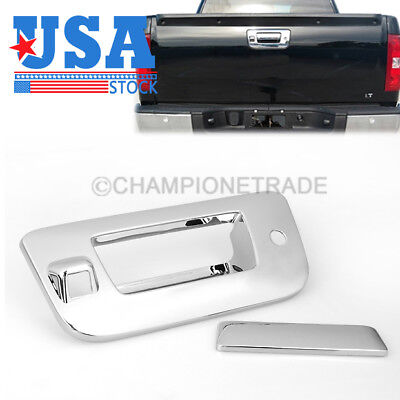US Chrome Tailgate Rear Door Handle Cover with Camera Hole for Silverado 07-13
