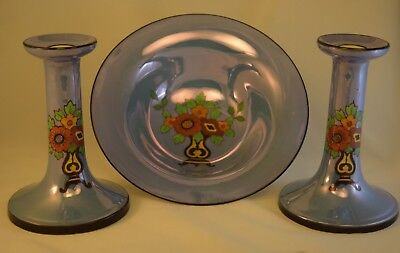 Noritake Art Deco Candlesticks and Matching Bowl, Blue Luster Mantle Set, Exc!