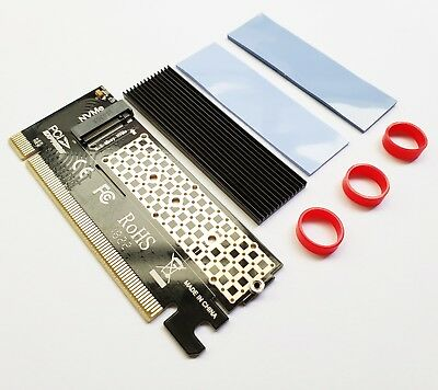 NVMe M.2 SSD PCI-E 3.0 X16 Adapter Card with Heatsink for 960Pro PM961 970EVO