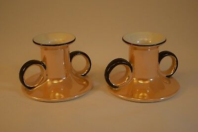 Noritake Art Deco Period Candle Holders, Chambersticks, Tan Lusterware, Exc Cond