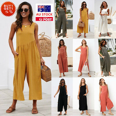 Women Summer Beach Sleeveless Jumpsuit Playsuit Party Wide Leg Trousers Rompers