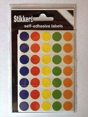 140 Sticky 13mm Dot Labels Self Adhesive Stickers Circle Round Spot