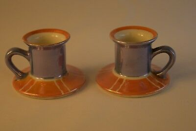 Noritake Art Deco Candle Holders, Chambersticks, Tan and Blue Lusterware, Exc++
