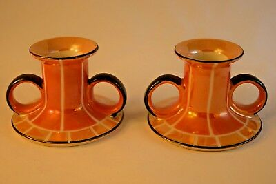 Noritake Art Deco  Chambersticks, Candle Holders, Tan and Orange Lusterware, Exc