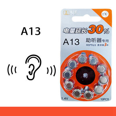 10 Pcs Hearing Aid Battery A13/B6, Size A13, Zinc Air cell, , 1.4V for BTE ITE